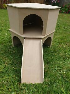Rabbits Two Storey Corner Shelter castle house hideaway hutch 16''x16'x20''