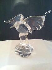 Elegant Art Glass Bermuda Bird Sculptures, Clear glass, Original Gayle Weyland