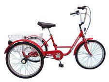 Dreirad für Erwachsene Therapierad Seniorenrad 24 Zoll 3-Gang rot