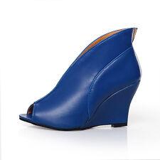 NEW Women's High Wedge Heels Peep Toe Pumps Faux Leather Sandal Shoes Plus Size