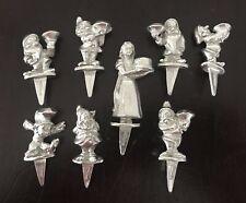Pewter Silver Disney Snow White & Seven Dwarfs Birthday Cake Candle Holders