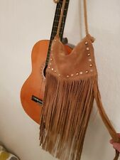 COWGIRL BOHO HIPPY STUDDED TAN SUEDE LONG FRINGED SHOULDER BAG BNWOT