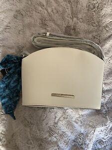 Steve Madden  Bucket Crossbody Bag  White Top Zipper With Scarf NWT