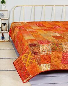 Indian Patchwork Kantha Quilt King Size Bedding Bed Cover Silk Sari Bedspread