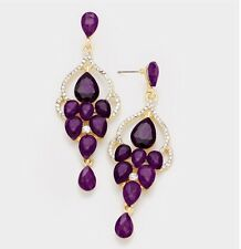 "3"" Purple Gold Long Rhinestone Crystal Pageant Drop Dangle Earrings"