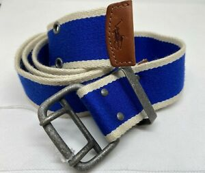 Polo Ralph Lauren Blue Stripe Stretch Cotton Leather Trim Belt RRL Pony logo XL