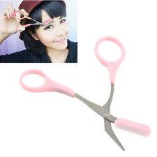 Eyebrow Eyelash Scissors Comb Trimmer Pink Stainless Steel Tool UK Stock