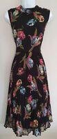 Womens Asos Black Floral Sleeveless Pleated Chiffon Flared Plisse Midi Dress 16.
