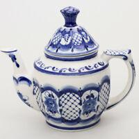 22 fl oz Brewing Teapot w/ Floral Pattern. Authentic Signed Gzhel Porcelain
