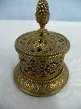 UNIQUE VINTAGE GOLD PLATED FILIGREE WEDDING SET RING BOX