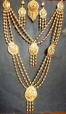 22K Gold Plated Indian 3 Lines Step Chain 11'' Long Necklace Earrings Tikka Set