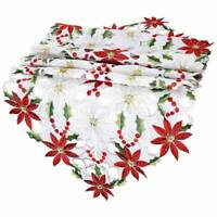 Table Cover Runner Tablecloth Xmas Party Home Christmas Table Embroiderd Decor