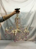 Bohemian Hanging Metal Chandelier with Prisms Shabby Cottage Pink 6 Arm Light