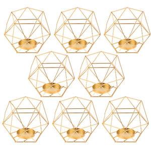 8PCS Gold 3D Geometric Tealights Candle Holder Nordic Table Centerpiece Decor
