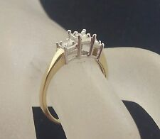 14k White & Yellow 2-tone Gold 3 Diamonds For Past Present Future Ring Size 7