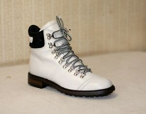 1800$ CHANEL white black leather quilted laceup ankle combat boots 37-36.5 us6.5