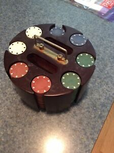 Vintage Cardinal Industries Poker Chip Set In Rotating Base