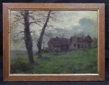Huile de 1918  signée représentant un paysage à Souilly dans la Meuse