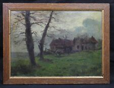 Oil 1918 signed representative a landscape to Souilly in la Meuse