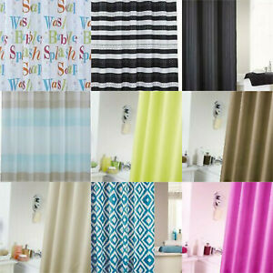 WATERPROOF SHOWER CURTAIN WITH HANGING RINGS 180x180cms BIG CHOICE OF DESIGNS