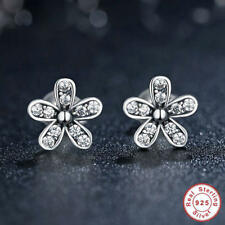 REAL 925 SILVER STERLING PAIR OF DAZZLING DAISIES STUD EARRINGS + GIFT BOX