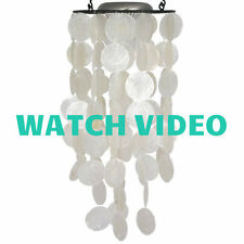 Woodstock Chimes - Sea Shell Capiz Solar Chime - White Modal C713  Light & Sound