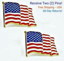 2 - High Quality American Waving Flag Lapel Pins - Patriotic US U.S. USA U.S.A.