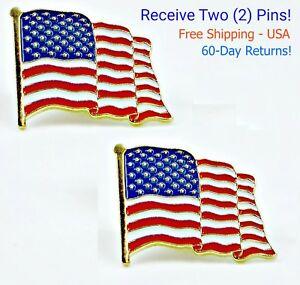 2  High Quality American Waving Flag Lapel Pins Hat Patriotic US U.S. USA U.S.A.
