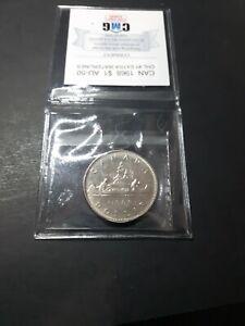 Canada  1968  1 Dollar  DHL  #1   Graded  AU-50  CMG
