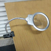 Large Lens Lighted Lamp Top Desk Magnifier Magnifying Glass +Clamp 2 LED Battery