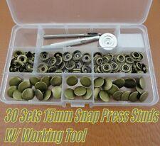 30 Set Snap Fasteners Rivets Press Studs(15mm) Kit W/ Leather Craft Working Tool