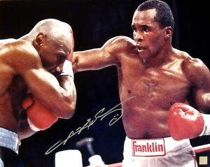 Sugar Ray Leonard Autographed 16x20 Photo Punching Marvin Hagler ASI Proof