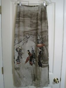 Citron Santa Monica Silk Lined Elastic Back Asian Women Child Print Maxi Skirt M