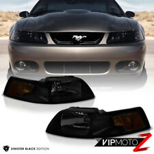 1999 2000 2001 2002 2003 2004 Ford Mustang Black Smoke Front Headlights Lamp SET