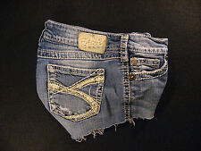 Silver Twisted CUTOFF JEAN SHORTS Cut Off W 28 Hot Pants Daisy Duke Low Rise