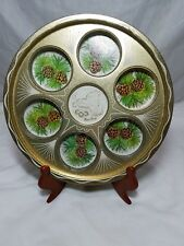 Vintage New York State Pine Cones Metal Souvenir Drink Serving Tray Gold Map Vgc