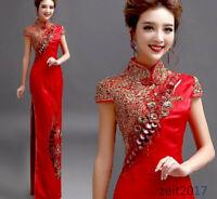 Damen Cheongsam Chinesisches Partykleid Abendhochzeitskleid QiPao Kleid Stickere