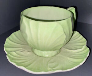CARLTON WARE Green Leaf Design Cup and Saucer.  Saucer 14cm dia. Cup 6.5cm high.