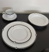 Mikasa Midnight Fine Wedding China Complete Dinner Set MINT CONDITION L5542