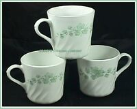 3 Corning Corelle CALLAWAY IVY Coffee Tea Cups Mugs Made in USA Microwave OK EUC