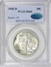 1945-D PCGS & CAC MS65 Walking Liberty Half Dollar / PQ & Beautiful Luster
