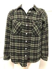 Free People Women's XS Green Black Plaid Cotton Button Down Long Sleeve Top