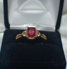 Nissa Africia Genuine Ruby an Natural Cambodian Topaz 14K YG Overlay Silver Ring