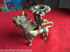 Rare Indian Brass hand Craved Samurai Dragon CANDEL AND ESSANCE STICK STAND