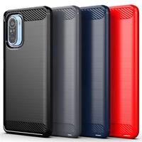 For Xiaomi Poco F3 / X3 Pro Shockproof Silicone Carbon Fiber Soft TPU Case Cover
