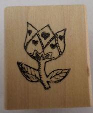 Heart Tulip Cca645 1995 Carols Crnr  Wooden Rubber Stamp