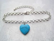 Turquoise Silver Plated Costume Anklets