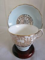 Vintage ROYAL VALE Cup & Saucer 7393 Bone China Light Blue & Gold Floral England