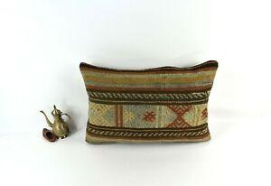 Kilim Lumbar Pillow 16x24 Handmade Vintage Oushak Decorative Cushion Cover 3433