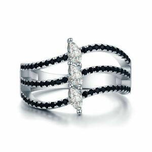 BENIAMINO Damen Ring 925er Sterling Silber Black Spinell Zirkonia AAA 18 K OVP